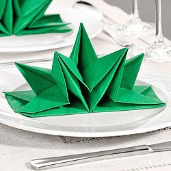 12 db készre hajtogatott szalvéta - zöld színben