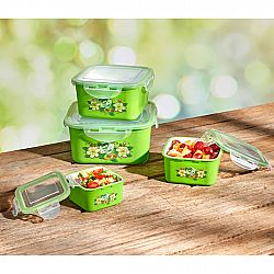4 ételtároló doboz zöld színben