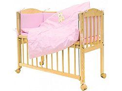 7-részes rácsos kiságy készlet - Scarlett Baby - mackó - rózsaszín