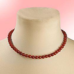 Achát nyaklánc - piros színben