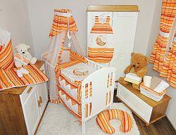 Ágyneműhuzat rácsos ágyba - piros-narancssárga csíkokkal