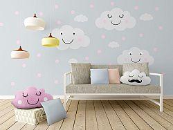 Faldekoráció - vidám felhők + rózsaszín pöttyök