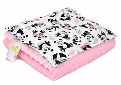 Gyermekek takaró és párna M Panda - rózsaszín