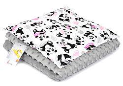 Gyermekek takaró és párna M Panda - szürke