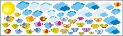 Öntapadó dekoráció - felhők és madárkák 0,5 m2