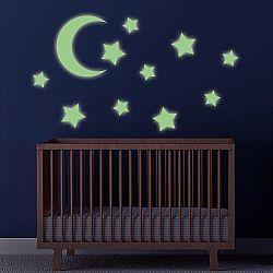Öntapadó falmatricák - világító csillagok és hold