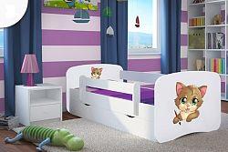 OURBABY gyerekágy leesésgátlóval - cica - fehér