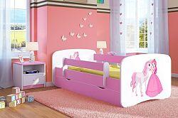 OURBABY gyerekágy leesésgátlóval - hercegnő lovacskával - rózsaszín