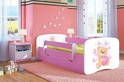 OURBABY gyerekágy leesésgátlóval - mackó - rózsaszín