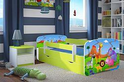 OURBABY gyerekágy leesésgátlóval - szafari - zöld