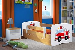 OURBABY gyerekágy leesésgátlóval - tűzoltóautó - bükk