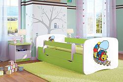OURBABY gyerekágy leesésgátlóval - zöld - vidám vonat