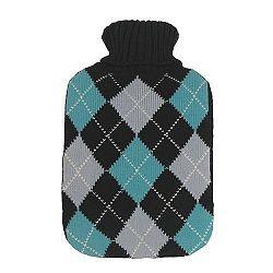 Vivamax Melegítő palack, rombusz mintás, kék, 2000 ml