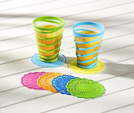 6 színes poháralátét
